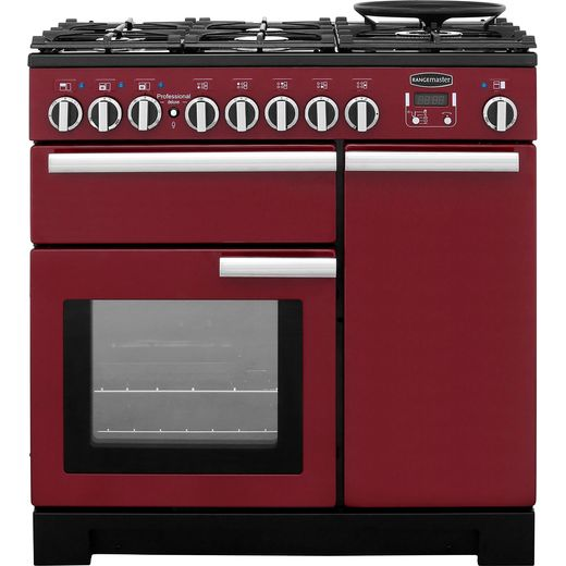 Rangemaster Professional Deluxe PDL90DFFCY/C 90cm Dual Fuel Range Cooker - Cranberry - A/A Rated