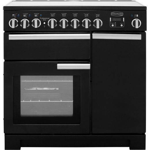 Rangemaster Professional Deluxe PDL90EIGB/C 90cm Electric Range Cooker with Induction Hob - Black / Chrome - A/A Rated