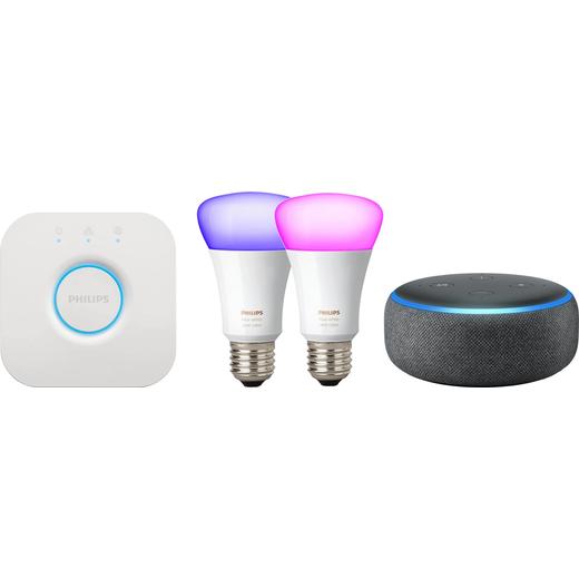 Amazon Echo Dot (3rd Gen) Smart Speaker with Alexa Includes Philips Hue E27 Starter Kit - Black