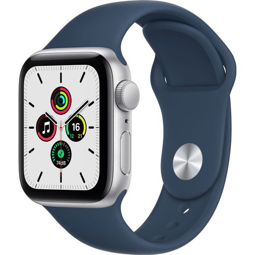 Apple Watch SE, 40mm, GPS [2021] - Silver Aluminium Case with Abyss Blue Sport Band