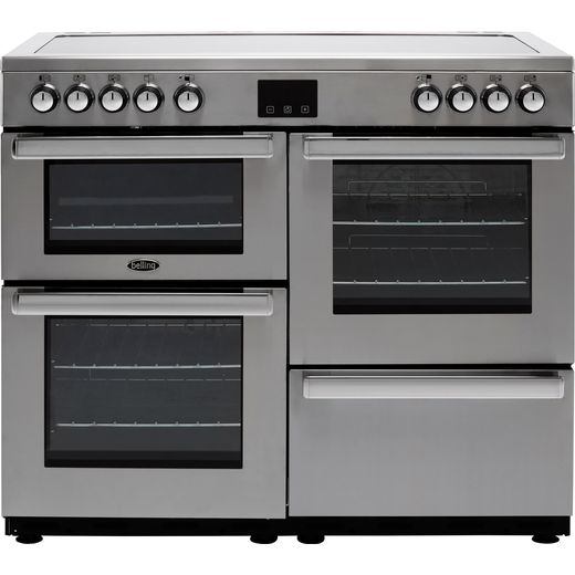 Belling Cookcentre100E Prof 100cm Electric Range Cooker with Ceramic Hob - Stainless Steel - A/A Rated