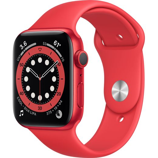 Apple Watch Series 6, 44mm, GPS [2020] - (PRODUCT) RED Aluminium Case with (PRODUCT) RED Sports Band