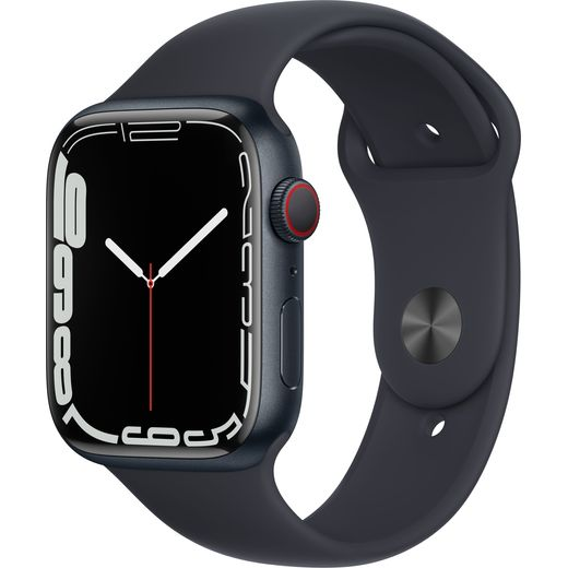 Apple Watch Series 7, 45mm, GPS + Cellular [2021] - Midnight Aluminium Case with Midnight Sport Band