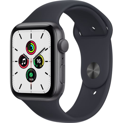 Apple Watch SE, 44mm, GPS [2021] - Space Grey Aluminium Case with Midnight Sport Band