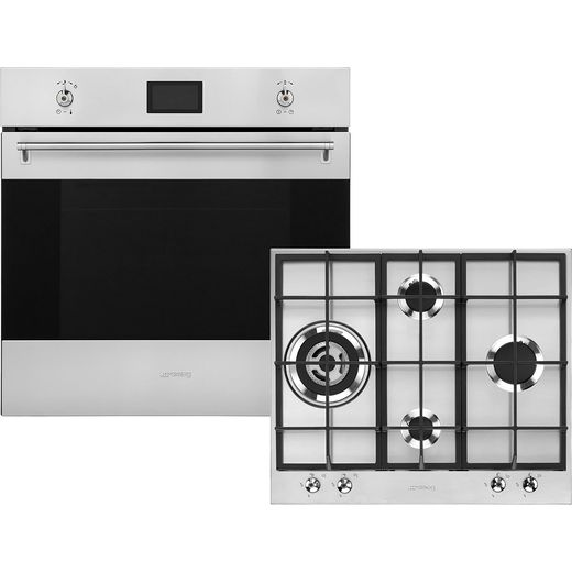 Smeg Classic AOSF6390G2 Built In Electric Single Oven and Gas Hob Pack - Stainless Steel - A+ Rated