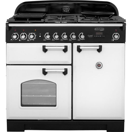 Rangemaster Classic Deluxe CDL100DFFRP/C 100cm Dual Fuel Range Cooker - Royal Pearl - A/A Rated