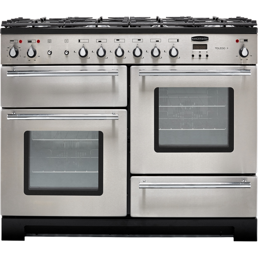 Rangemaster Toledo + TOLP110DFFSS/C 110cm Dual Fuel Range Cooker - Stainless Steel / Chrome - A/A Rated