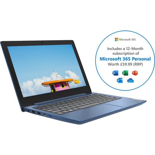 """Lenovo IdeaPad 1 11.6"""" Includes Microsoft 365 Personal 12-month subscription with 1TB Cloud Storage Laptop - Blue"""
