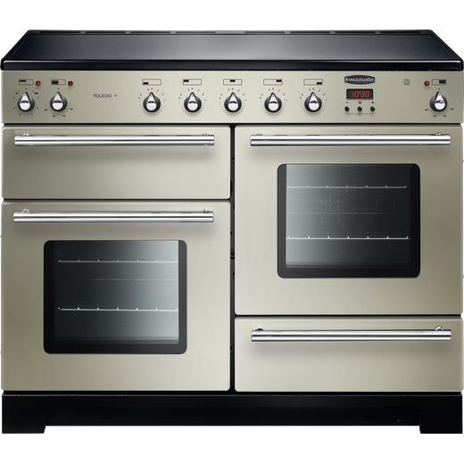 Rangemaster Toledo + TOLP110EIIV/C 110cm Electric Range Cooker with Induction Hob - Ivory / Chrome - A/A Rated