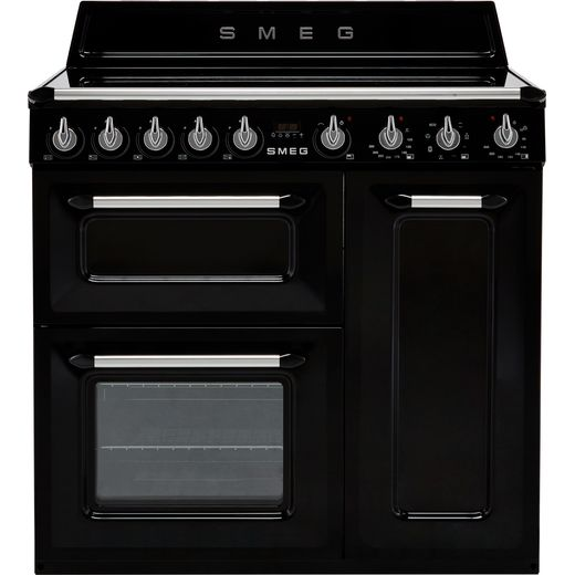 Smeg Victoria TR93IBL 90cm Electric Range Cooker with Induction Hob - Black - A/B Rated