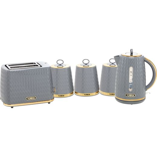 Tower Empire AOBUNDLE019 Kettle And Toaster Set - Grey