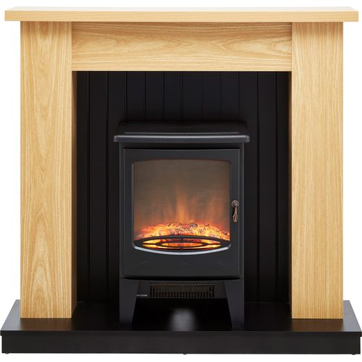 Warmlite WL45043 Log Effect Suite And Surround Fireplace - Oak