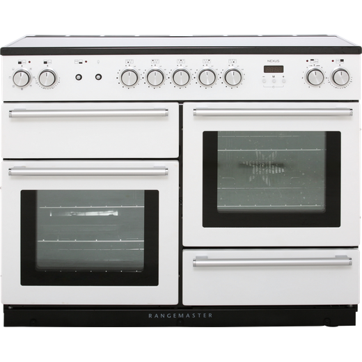 Rangemaster Nexus NEX110EIWH/C 110cm Electric Range Cooker with Induction Hob - White / Chrome - A/A Rated