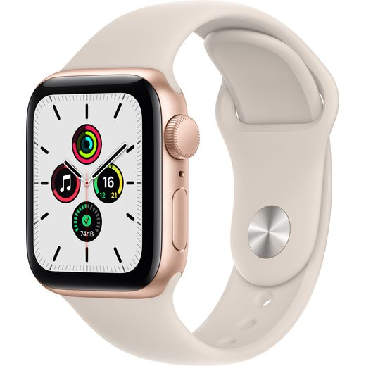Apple Watch SE, 40mm, GPS [2021] - Gold Aluminium Case with Starlight Sport Band