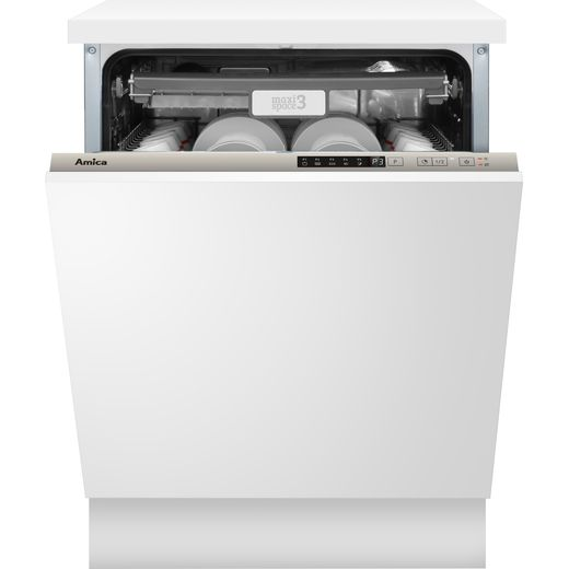 Amica ADI650 Fully Integrated Standard Dishwasher - Silver Control Panel with Fixed Door Fixing Kit - E Rated