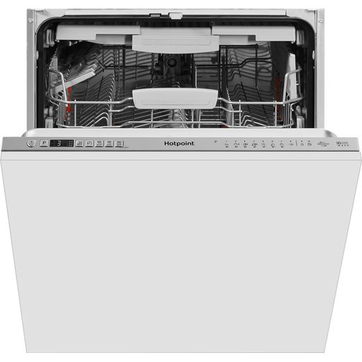 Hotpoint HIO3T241WFEGTUK Fully Integrated Standard Dishwasher - Stainless Steel Effect Control Panel with Fixed Door Fixing Kit - C Rated