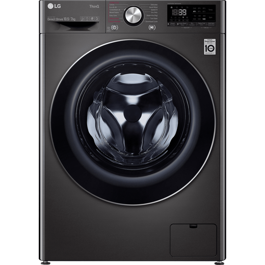 LG V9 FWV917BTSE Wifi Connected 10.5Kg / 7Kg Washer Dryer with 1400 rpm - Black / Stainless Steel - E Rated
