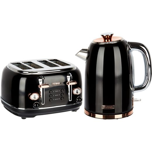 Tower AOBUNDLE004 Kettle And Toaster Set - Black / Rose Gold