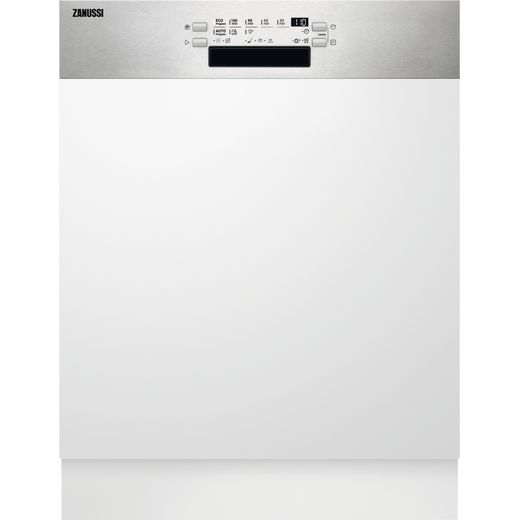 Zanussi ZDSN653X2 Semi Integrated Standard Dishwasher - Stainless Steel Control Panel - D Rated