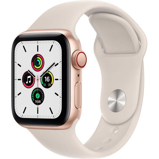 Apple Watch SE, 40mm, GPS + Cellular [2021] - Gold Aluminium Case with Starlight Sport Band