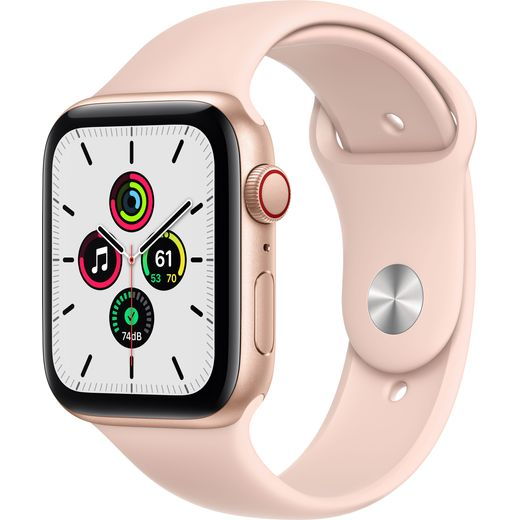 Apple Watch SE, 44mm, GPS + Cellular [2020] - Gold Aluminium Case with Pink Sand Sport Band
