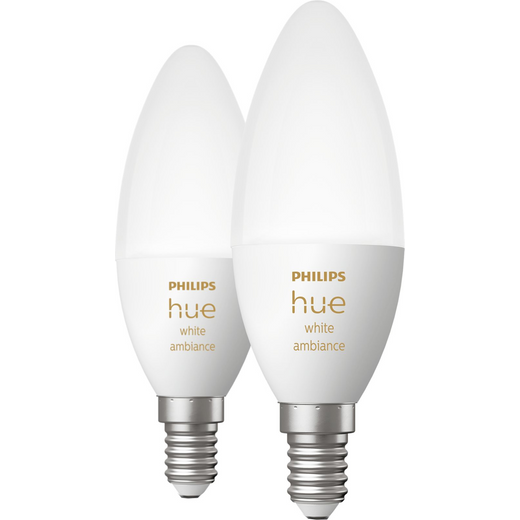 Philips Hue White Ambiance E14 Smart Bulb Twin Pack - A+ Rated