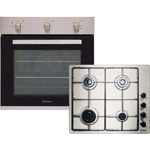 Candy CGHOPK60X/E Built In Electric Single Oven and Gas Hob Pack - Stainless Steel - A+ Rated