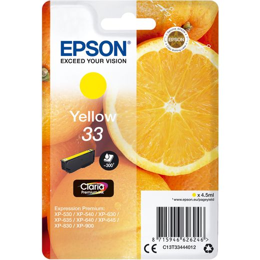 Epson Orange Singlepack Yellow 33 Claria Premium Ink