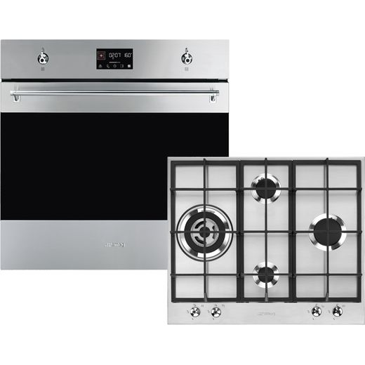 Smeg Classic AOSF6390G3 Built In Electric Single Oven and Gas Hob Pack - Stainless Steel - A+ Rated