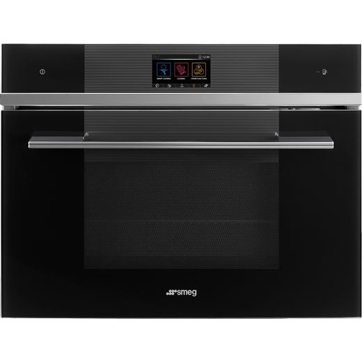 Smeg Linea SF4104WVCPN Wifi Connected Built In Compact Electric Single Oven with added Steam Function - Black - A+ Rated