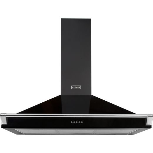 Stoves S900 RICH CHIM RAIL 90 cm Chimney Cooker Hood - Black - A Rated