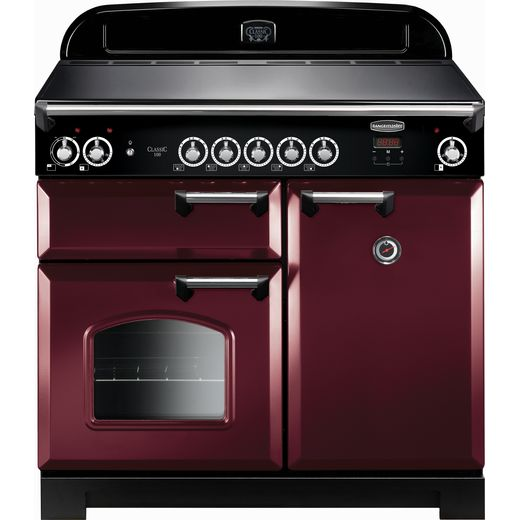 Rangemaster Classic CLA100EICY/C 100cm Electric Range Cooker with Induction Hob - Cranberry / Chrome - A/A Rated