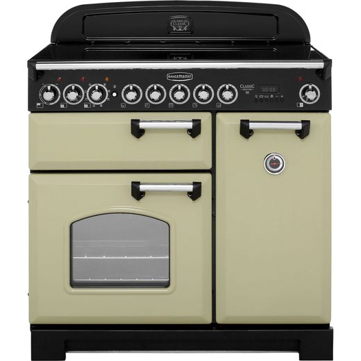 Rangemaster Classic Deluxe CDL90EIOG/C 90cm Electric Range Cooker with Induction Hob - Olive Green - A/A Rated