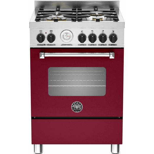 Bertazzoni Master Series MAS60-4-MFE-S-VIE 60cm Dual Fuel Cooker - Burgundy - A Rated