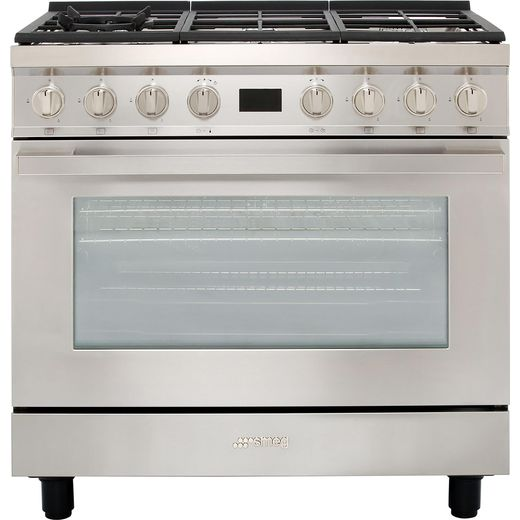 Smeg Portofino CPF9GPX 90cm Dual Fuel Range Cooker - Stainless Steel - A+ Rated