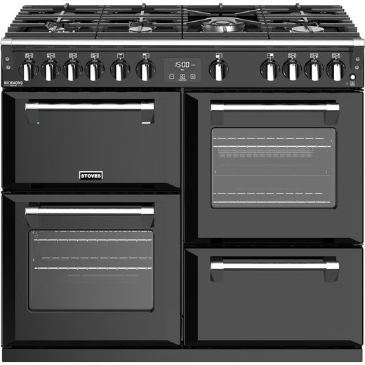 Stoves Richmond Deluxe S1000G 100cm Gas Range Cooker with Electric Grill - Black - A+/A/A Rated