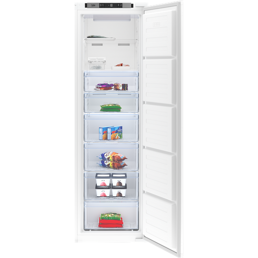 Beko BFFD3577 Integrated Frost Free Upright Freezer with Sliding Door Fixing Kit - F Rated