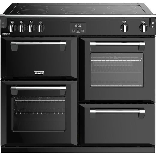 Stoves Richmond Deluxe S1000EI 100cm Electric Range Cooker with Induction Hob - Black - A/A/A Rated