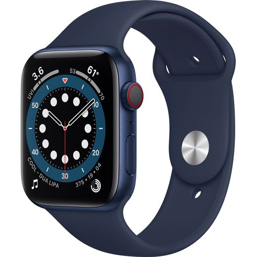 Apple Watch Series 6, 44mm, GPS + Cellular [2020] - Blue Aluminium Case with Deep Navy Sport Band