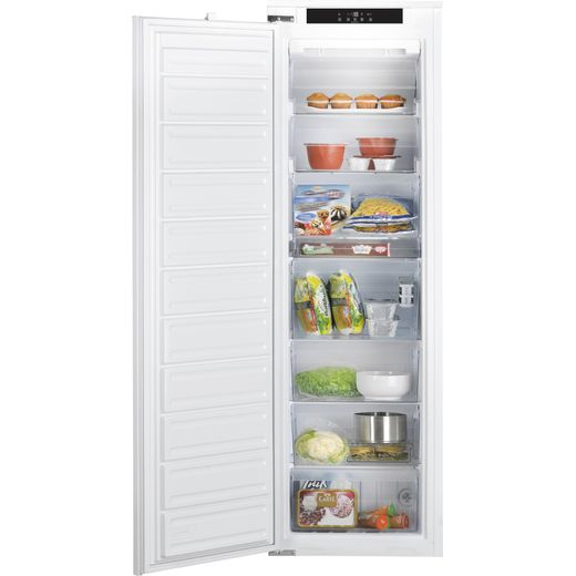 Hotpoint HF1801EF1UK Integrated Frost Free Upright Freezer with Sliding Door Fixing Kit - F Rated