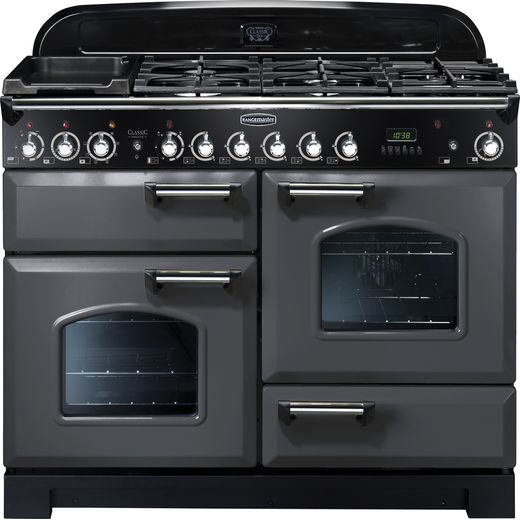 Rangemaster Classic Deluxe CDL110DFFSL/C 110cm Dual Fuel Range Cooker - Slate Grey / Chrome - A/A Rated