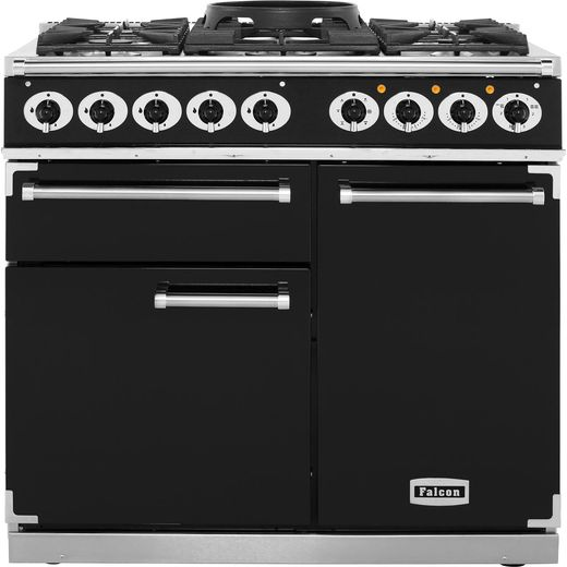 Falcon 1000 DELUXE F1000DXDFBL/CM 100cm Dual Fuel Range Cooker - Black - A/A Rated