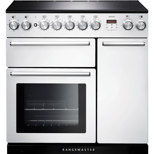 Rangemaster Nexus NEX90EIWH/C 90cm Electric Range Cooker with Induction Hob - White / Chrome - A/A Rated