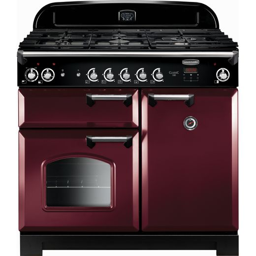 Rangemaster Classic CLA100DFFCY/C 100cm Dual Fuel Range Cooker - Cranberry / Chrome - A/A Rated