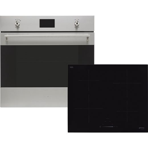 Smeg Classic AOSF6390I2 Built In Electric Single Oven and Induction Hob Pack - Stainless Steel / Black - A+ Rated