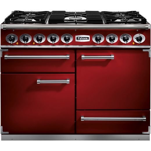 Falcon 1092 DELUXE F1092DXDFRD/NM 110cm Dual Fuel Range Cooker - Cherry Red - A/A Rated