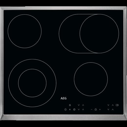 AEG Competence HK634060XB Built In Ceramic Hob - Black / Stainless Steel