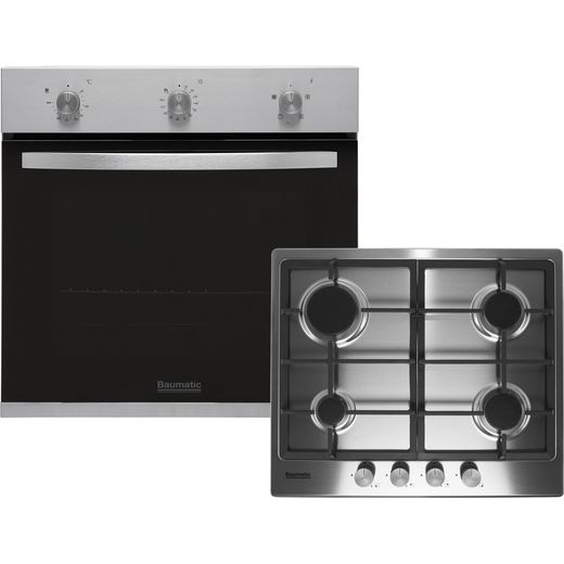 Baumatic BGPK600X Built In Electric Single Oven and Gas Hob Pack - Stainless Steel - A Rated