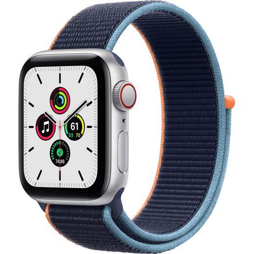 Apple Watch SE, 40mm, GPS + Cellular [2020] - Silver Aluminium Case with Deep Navy Sport Loop