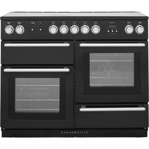 Rangemaster Nexus NEX110EIBL/C 110cm Electric Range Cooker with Induction Hob - Black / Chrome - A/A Rated